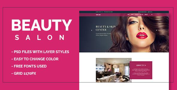 Beauty Salon Onepage PSD (Wellness &amp Beauty)