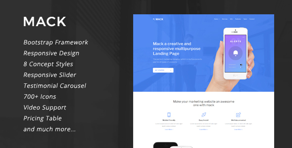 Mack - 8 in 1 Multipurpose Landing Page