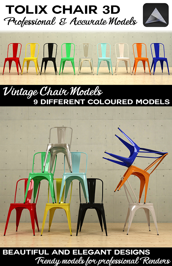 Vintage Tolix Chair 3D - 3DOcean Item for Sale