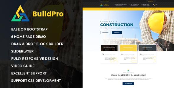 Download BuildPro - Construction Drupal 8 Theme