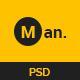 Man - One Page Resume/ CV & Personal Portfolio PSD Template