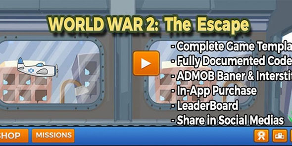 Planet War two – The Escape – Unity Supply Code With Admob + in app buy, (Games)