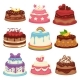 Decorated Sweet Festival Cakes Collection Isolated