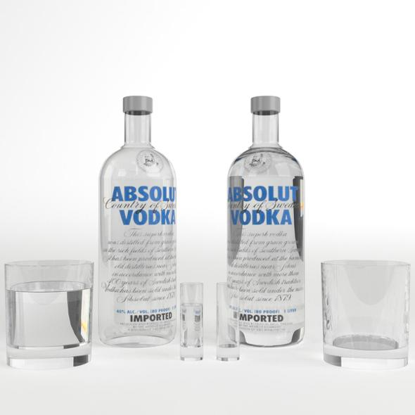 3DOcean Absolut Vodka Bottle and Glasses set 19511450