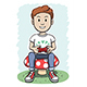 Boy Sitting on a Mushroom Playing Video Game