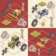Farm Vehicles Isometric Concept