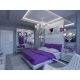 3d Rendering Bedroom in Gray and White Tones with