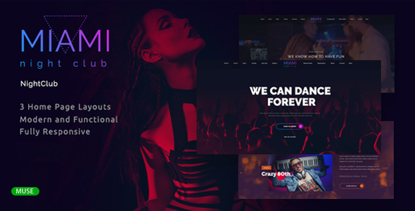 Miami - Night Club Responsive Adobe Muse Template