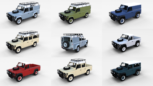 Land Rover Defender Pack with interior - 3DOcean Item for Sale