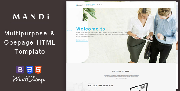 Mandi – Onepage and Multipage Responsive Inventive , Corporate, Small business &amp Portfolio Template (Small business)