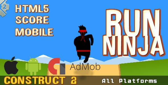 Download Run Ninja - HTML5 Game, Mobile Vesion+AdMob (.CAPX)