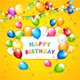 Birthday Balloons and Tinsel on Yellow Background