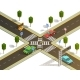 City Intersection Traffic Navigation Isometric