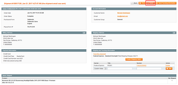 Delete Shipment (Magento Extensions)