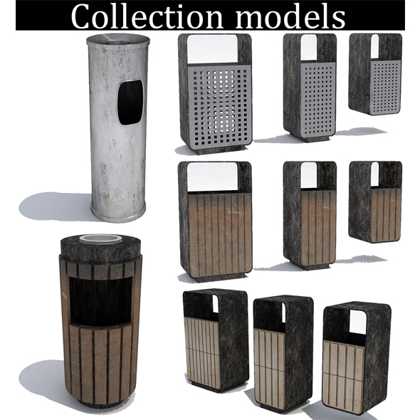 Street trash can - collection 5 models - 3DOcean Item for Sale