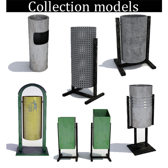 Street trash can - collection 6 models - 3DOcean Item for Sale