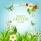 Easter Floral Frame with Spring Flower Card Design