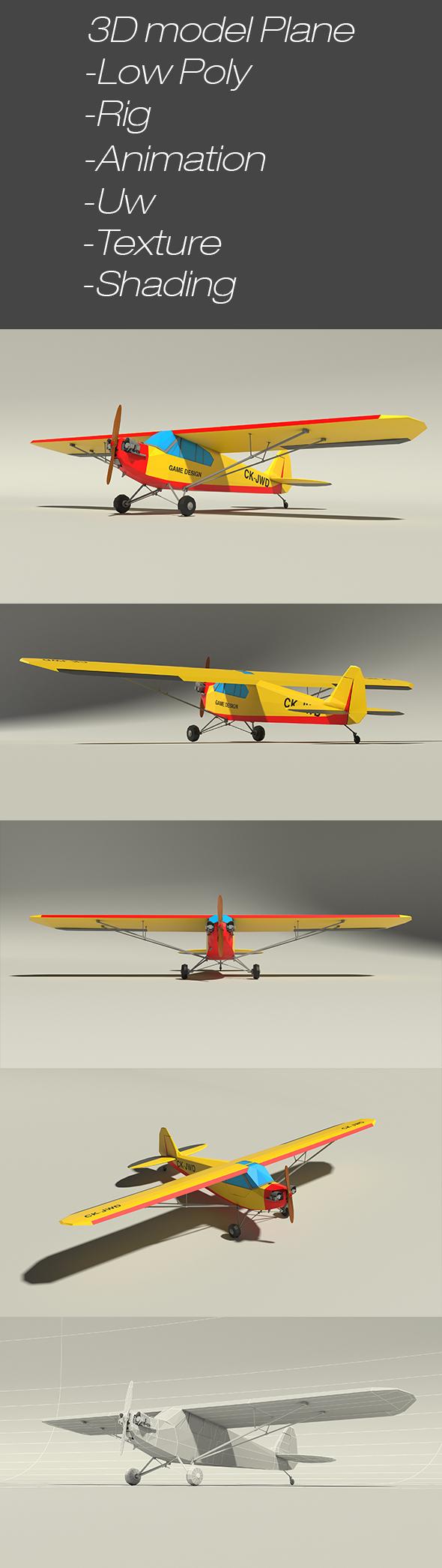 3D Model Plane with propeller - 3DOcean Item for Sale