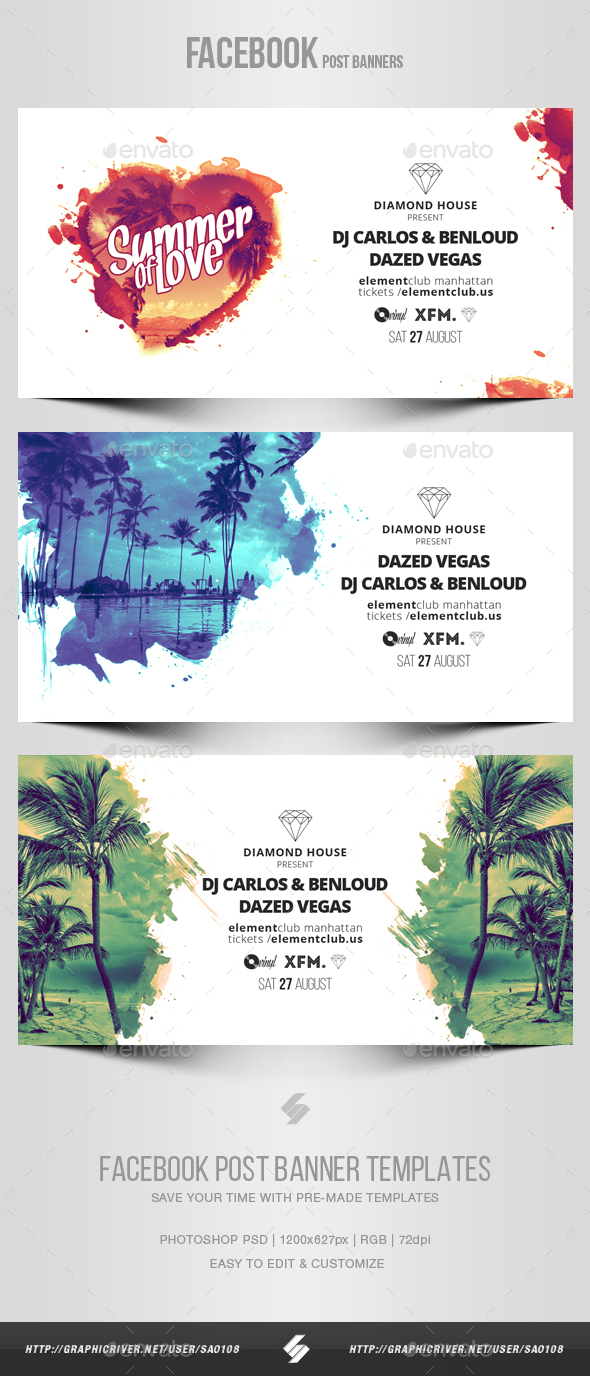 Graphicriver Electronic Music Party vol.16 - Facebook Post Banner Templates 19524404