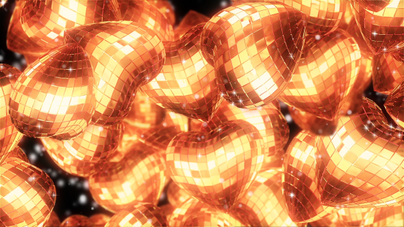 VideoHive Golden Hearts Background 19525027