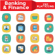 Banking and Finance Flat Square Icons