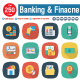 Banking and Finance Flat Square Shadow Icons