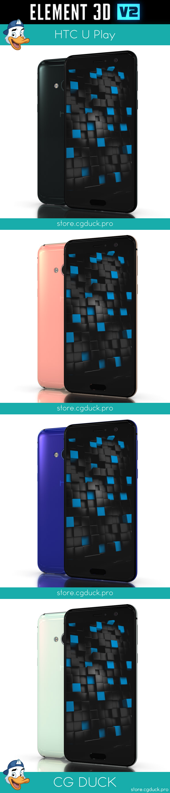 HTC U Play for Element 3D - 3DOcean Item for Sale