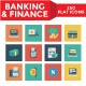 Banking and Finance Square Icons