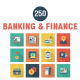 Banking and Finance Square Shadow Icons