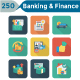 Banking and Finance Square Rounded Shadow Icons