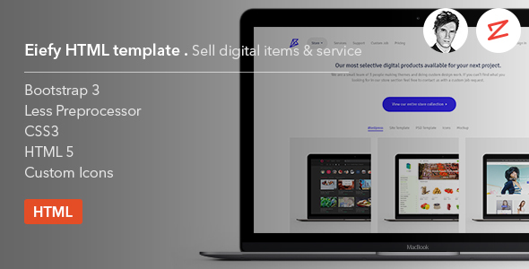 Eiefy: HTML Template for Selling Digital Items & Services