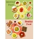 Dinner Dishes Top View Icon Set for Food Design