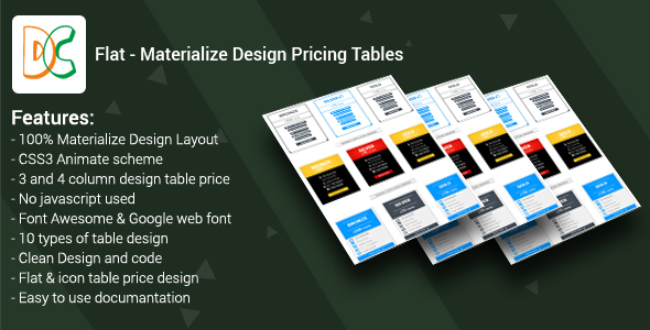 CodeCanyon Flat Materialize Design Pricing Tables 19496491