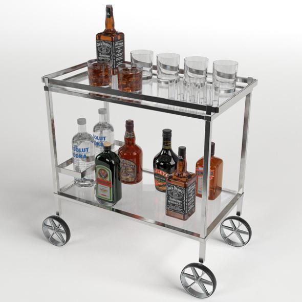 Drinks Trolley Cart 2 - 3DOcean Item for Sale