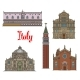 Italian Travel Landmarks of Venice Linear Icon Set