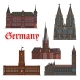 German Architectural Travel Landmark Icon Set