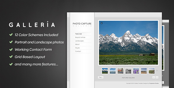 ThemeForest Galleria Photography and Portfolio Template 132211