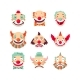 Clown Faces Vector Isolated Icons Set