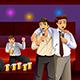 Businessmen Singing Karaoke After Work