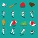 Baseball Isometric Icons Set