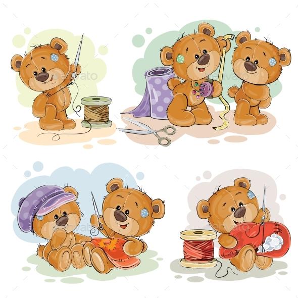Set of Vector Clip Art Illustrations of Teddy
