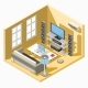 Vector Isometric Design of a Living Room