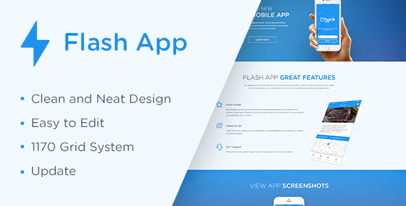 Image of Flash App — Landing Page HTML5 Template