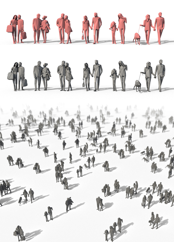 3DOcean Low Poly Posed People Pack 4 19543681