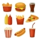 Set Fast Food Icon. Cup Cola, Chips, Burrito