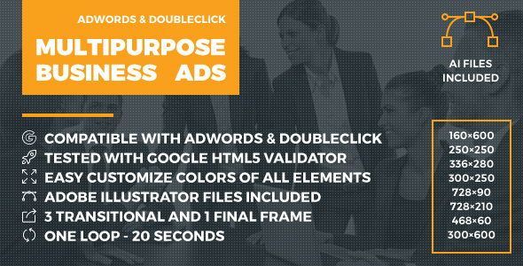 Multipurpose Business enterprise Advertisements – Animated HTML5 Google Banner Templates (AdWords and DoubleClick) (Ad Templates)