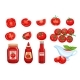 Set Red Tomato Vegetables Sauce