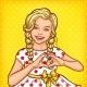 Pop Art Smiling Little Girl Showing Heart