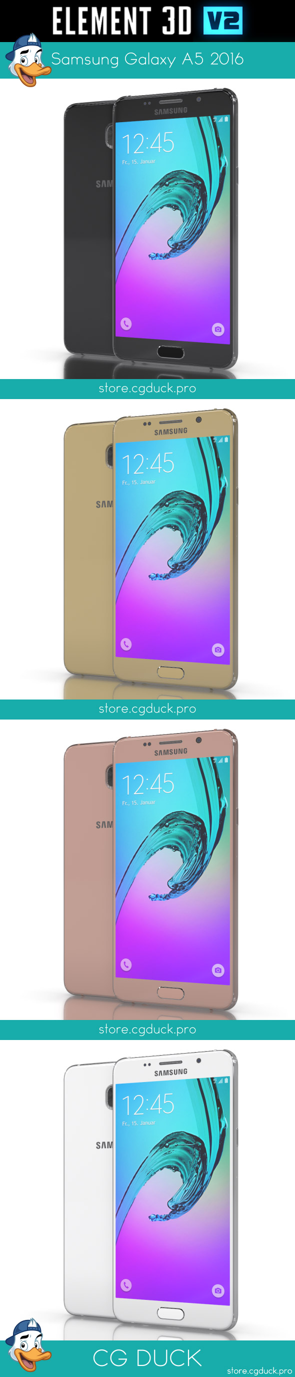 Samsung Galaxy A5 2016 for Element 3D - 3DOcean Item for Sale