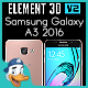 Samsung Galaxy A3 2016 for Element 3D